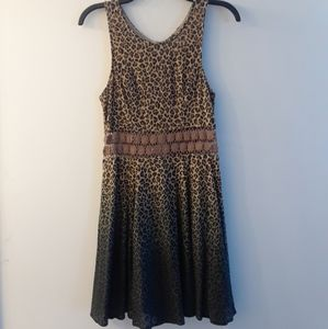 Free People Leopard Lace Ombre Dress 4 Small